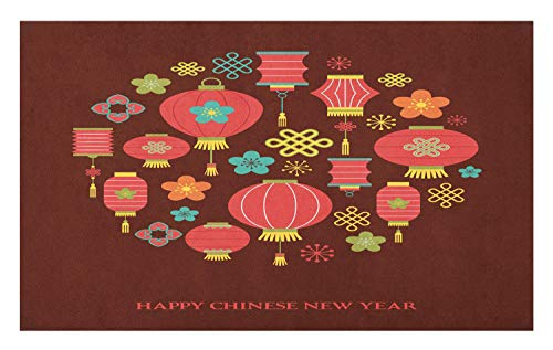 Ambesonne Chinese New Year Doormat, Colorful Celebration Lanterns Knots Flowers Culture, Decorative Polyester Floor Mat with Non-Skid Backing, 30
