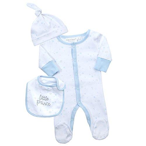 Babytown Baby Boys Sleepsuit Set - Sleeper, Bib and Cradle Cap Blue