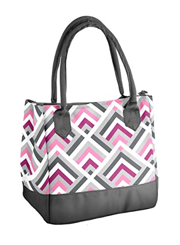 (Fit & Fresh Womens Vienna Insulated Lunch Bag with Ice Pack, Signature Cooler Bag for Office or School, Magenta Stripe Weave)