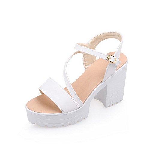 AmoonyFashion Womens Soft Material Buckle Open Toe High-Heels Solid Heeled-Sandals White cFlsOHWS