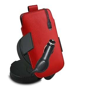 ONX3 Nokia Lumia 1520 Leather Slip cuerda del tirón de la PU de protección en la bolsa con el caso de Quick Release, 360 que gira la horquilla del parabrisas del coche y 12v Micro USB cargador de coche (rojo)