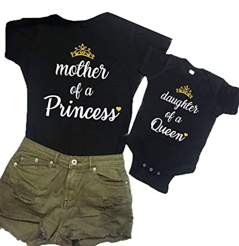 Mother and Me Short Sleeves Letters T-Shirt Mommy and Daughter Matching Shirts (Daughter of a Queen(Baby), 0-3 M)