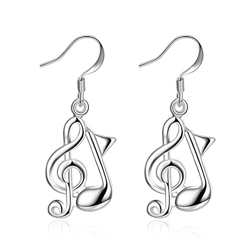 ELINKA Silver Plated Music Note Hoop Dangle Earrings Fashion Decorations For Women Girls