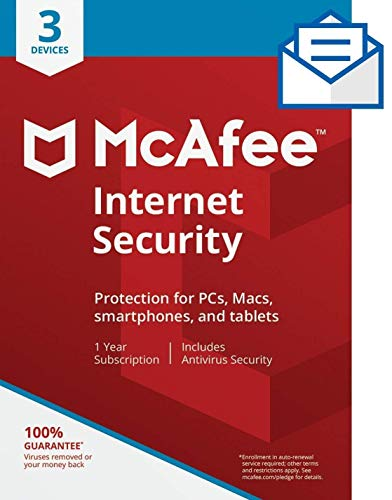 McAfee Internet Security|Antivirus| 3 Device|1Year Subscription| Activation Code by Mail |2019 Ready
