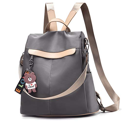 (Women Backpack Purse Nylon Anti-theft Waterproof Casual Rucksack Lightweight School Shoulder Bag (Dark gray))