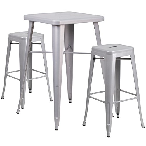 MFO 23.75'' Square Silver Metal Indoor-Outdoor Bar Table Set with 2 Square Seat Backless Barstools