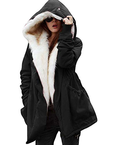 Roiii Women Thicken Warm Winter Coat Hood Parka Overcoat Long Jacket Outwear Black Medium Black Medium