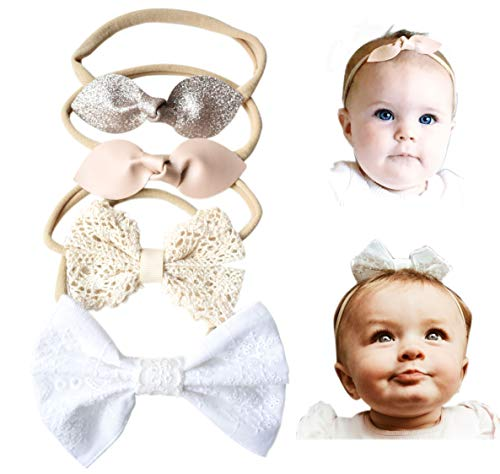 - California Tot Rabbit Ears Leather Lace Eyelet Glitter Bows - Soft & Stretchy Nylon Headbands for Baby, Toddler, Girls Set of 4 (Golden Neutral)