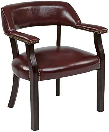 Office Star Padded Vinyl Seat and Back Traditional Guest Chair with Nailhead Accents and Mahogany Finish Wood Frame, Jamestown