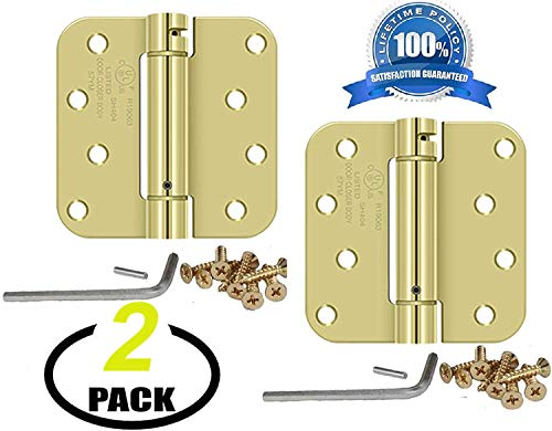 "Nuk3y Commercial Grade Heavy Duty, UL Rated 4"" x 4"" Spring Hinge 5/8"" Radius (Polished Brass), 2 Pack"