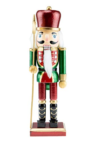 Clever Creations Wooden Solider Traditional Christmas Nutcracker | Red, Green, and White Outfit and Holding Axe | Festive Christmas Decor | 10