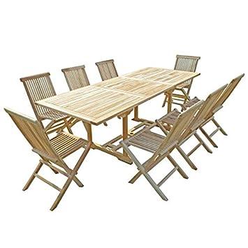 Générique Ensemble Table de Jardin rectangulaire en Teck ...