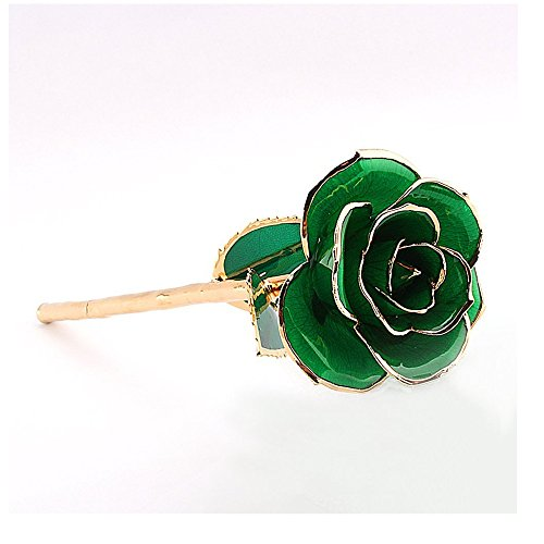 Faded Flowers - IVYRISE Forever Love 24K Gold Rose Long Stem Dipped Never Faded Rose Flower Best Gift for Dating Anniversary Mother's Day Birthday Festival, Green