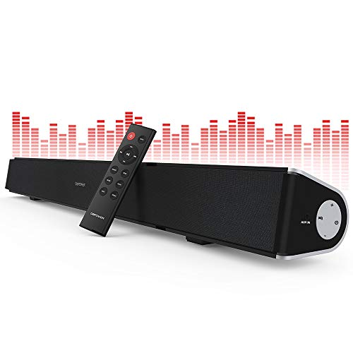 DBPOWER Soundbar for TV, 32 inch 2.1 Channel Wired and Wireless Bluetooth Optical Soundbar, Home Theater TV Speaker for TV/PC/Smartphone (Stereo Surround Sound, Remote Controlled & Wall-mountable)
