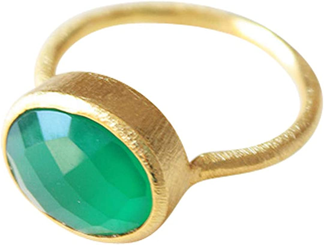 Vurmashop Anillo con Onix Verde de Oro 18k - Anillo para Mujer de diseño con Piedra semipreciosa