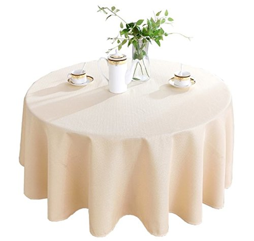 HIGHFLY Linen Round Tablecloth 60 inch Waterproof and Stain Resistant Dark Beige Color Table Cloth for Dining Room (Room Dining 60' Round)