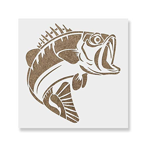 Bass Fish Stencil Template - Reusable Stencils for Painting in Small & Large Sizes
