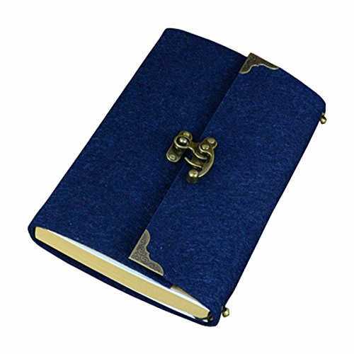 SAYEEC Retro Slim Felt Cover Hardcover Notebook With Bronze Lock - Lined Diary Travel Writing Journal Drawing Sketchbook Blue (Cover Wirebound Slim)