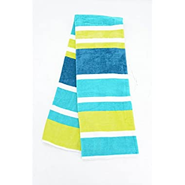Beach Towel 30 x 60  by HD DESIGNS OUTDOOR (Blue/Lime)
