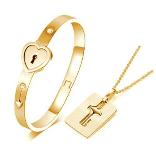 Carffany Heart Lock Love Bracelet Bangle Key Necklace Men Women Couple Lover Jewelry Set Rose Gold/White Silver (Gold) - Heart Lock Bracelet