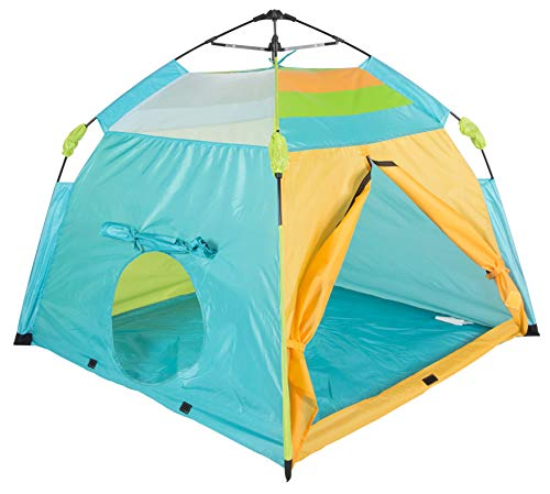 "Pacific Play Tents 20315 Kids One Touch Beach Tent, 48""x 48""x 40"", Blue/Orange/Green"