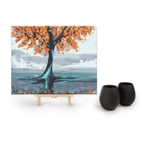 Drink by Numbers - DIY Paint by Numbers Kits for Adults by Big Betty - 16x20 Inches - Includes: 2 Matte Black Stemless Wine Glasses & 2 Fall Tree Canvases ()