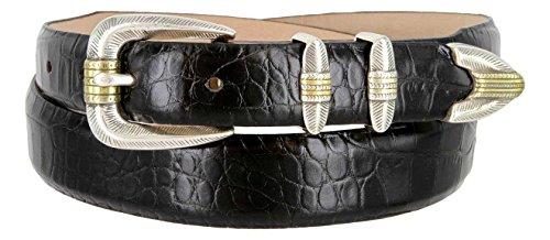 (Manila Genuine Italian Leather Designer Dress Golf Belt (Alligator Black,44))