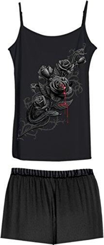 Puros de corazón, aparato de metal gótico fantasía pijama / camisa y pantalones cortos Negro / Blanco - XXL - Espiral