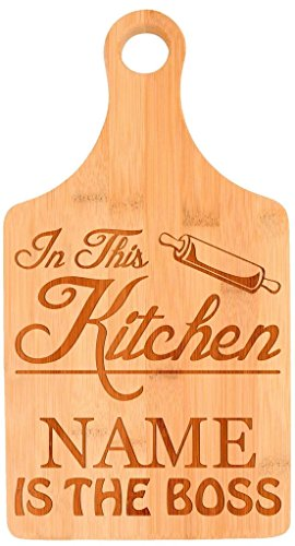 Custom Cooking Gift Enter Name Kitchen Boss Personalized Paddle Shaped Bamboo Cutting Board Bamboo