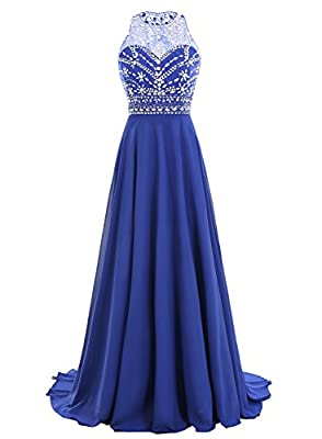Bbonlinedress Women Long Chiffon Beadings Scoop Prom Party Dresses Evening Gown