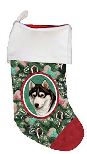 Best of Breed Siberian Husky Black/White Brown Eyes Dog Breed Christmas Stocking