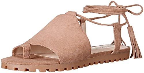 Nine West Flat Sandals - Nine West Women's Shayden Suede Dress Sandal, Natural, 7.5 M US