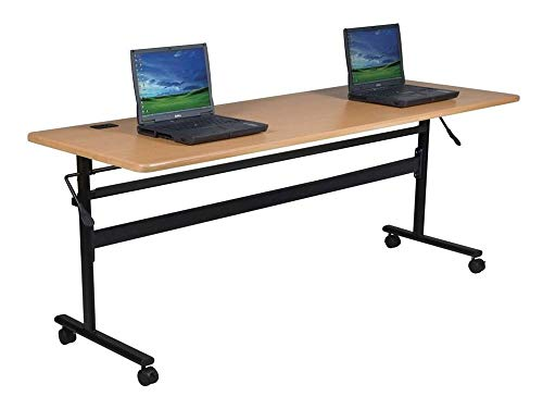 MooreCo Essentials Flipper Training Table 72x24 Teak Top Black Base (90094) by MooreCo (Image #4)
