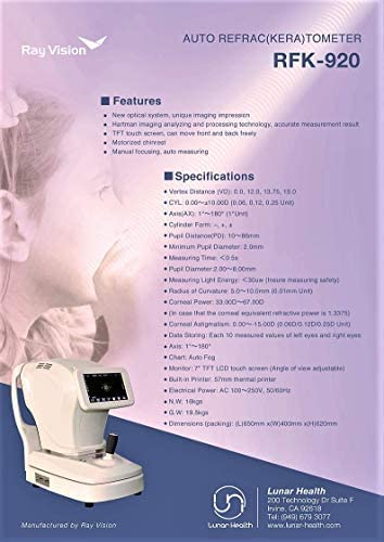 7 TFT Touch Screen Auto-Refractor Keratometer Refurbished Ophthalmic Refractometer RFK-920