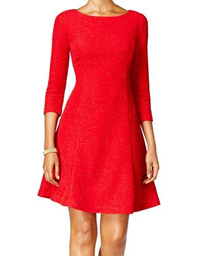 Jessica Howard Evening (Jessica Howard Womens Glitter Textured Cocktail Dress Red 14)