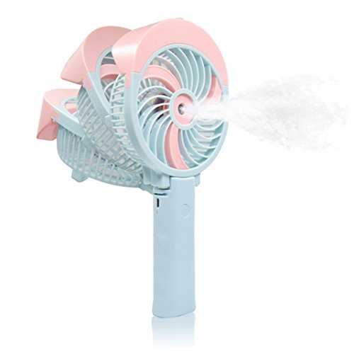 FIGROL Mini Misting Fan Outdoor Handheld Fan Portable USB Fan,with Battery Recharge and Metal Clip,3 Speeds Adjustable(pink) by FIGROL
