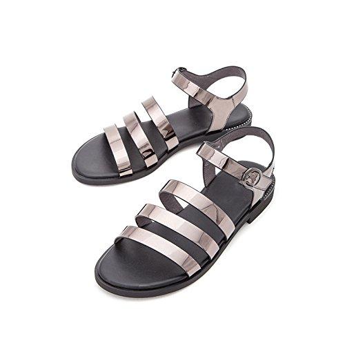 moda basso DHG a Tacchi tacco tacco estivi Pantofole alti con piatti Sandali Sandali da 35 Grigio alla basso casual Sandali donna SwYqfOwBx