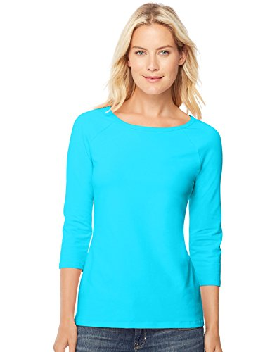 Turquoise Cotton Spandex - Hanes Women's Stretch Cotton Raglan Sleeve Tee, Flying Turquoise, Small