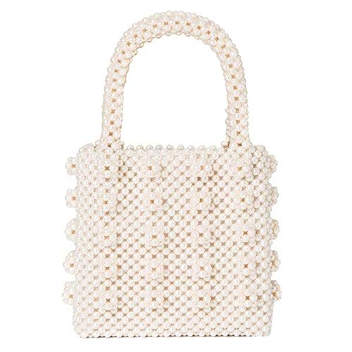 - Women's Beaded Handbag Pearl Evening Bags Luxury Elegant Purse (Pearl White)