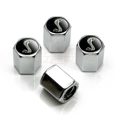 Ford Mustang Shelby GT Black Snake Chrome Tire Stem Valve Caps
