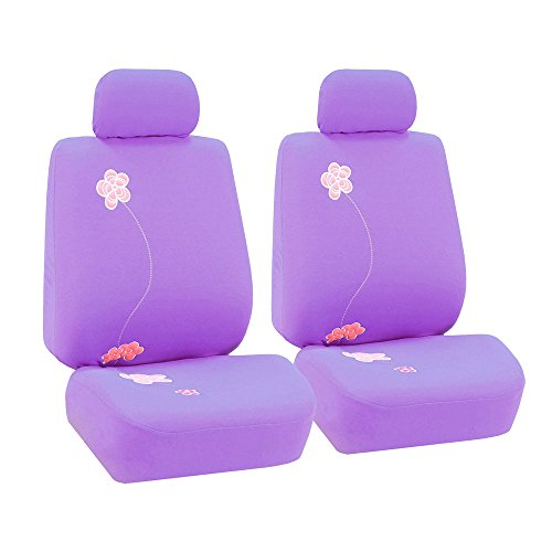 FH Group FB053PURPLE102 Seat Cover (Flower Embroidery Airbag Compatible (Set of 2) Purple) (2001 Vw Beetle Steering Wheel compare prices)