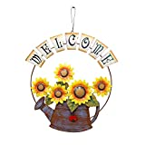 front yard garden ideas E-view Sunflower Welcome Sign Decorative Vintage Metal Wall Hanging Home Garden Decor - Welcome Plaque for Front Door, Garden Themed Sunflower & Can