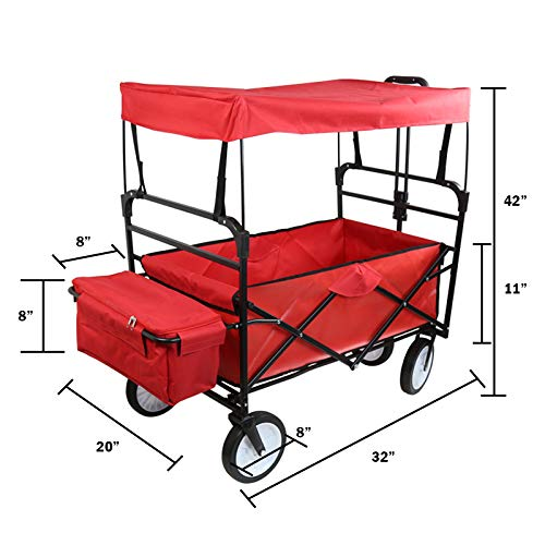 Collapsible Outdoor Utility Wagon with Top Canopy, Heavy Duty Folding Garden Portable Hand Cart, with Drink Holder, Suit for Shopping and Park Picnic, Beach Trip and Camping (Red w top)