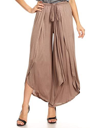 Anna-Kaci Women's Casual Solid Tulip Overlay Side Slit Tie Front Belt Waist Long Wide Leg Pants, Mocha, Small