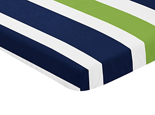 (Sweet JoJo Designs Navy Blue and Green Baby Fitted Mini Portable Crib Sheet for Stripe Collection)