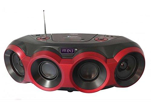 NAXA Electronics NPB-266 MP3/CD Boombox with Bluetooth (Red & Black) by Naxa Electronics