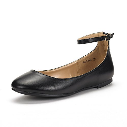 DREAM PAIRS Women's Sole-Nice Black Pu Ankle Strap Walking Flats Shoes - 11 M US