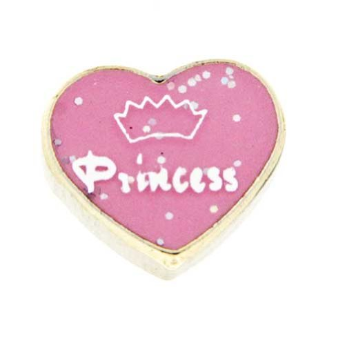 Locket Princess Jewelry Heart Charm (Princess in Pink Heart Floating Locket Charm)