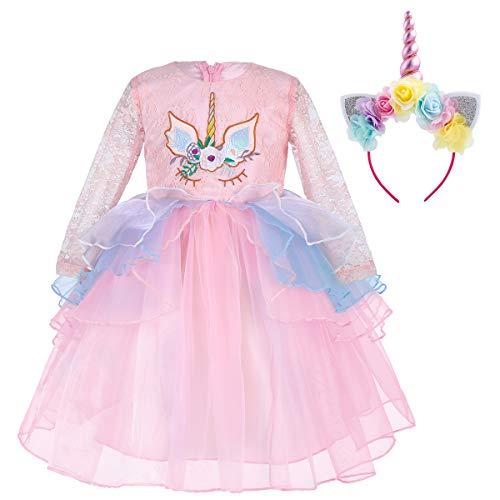 Amazon.com: OBEEII Toddler Kid Girl Lace Flower Tutu Dress ...