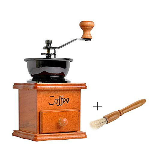 Manual Coffee Grinder, Wooden Coffee Mill Vintage Retro Hand Grinder rustic kitchen decor Handheld Coffee Grinder with Coffee Grinder Cleaning Brush (brown)